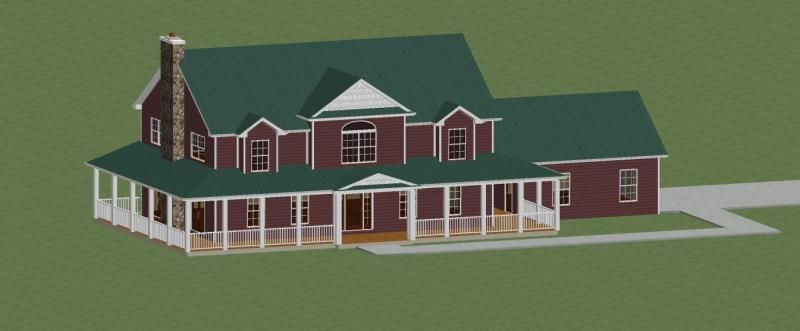 2 story farmhouse with green metal roof exterior paint 7 for Red brick house with metal roof