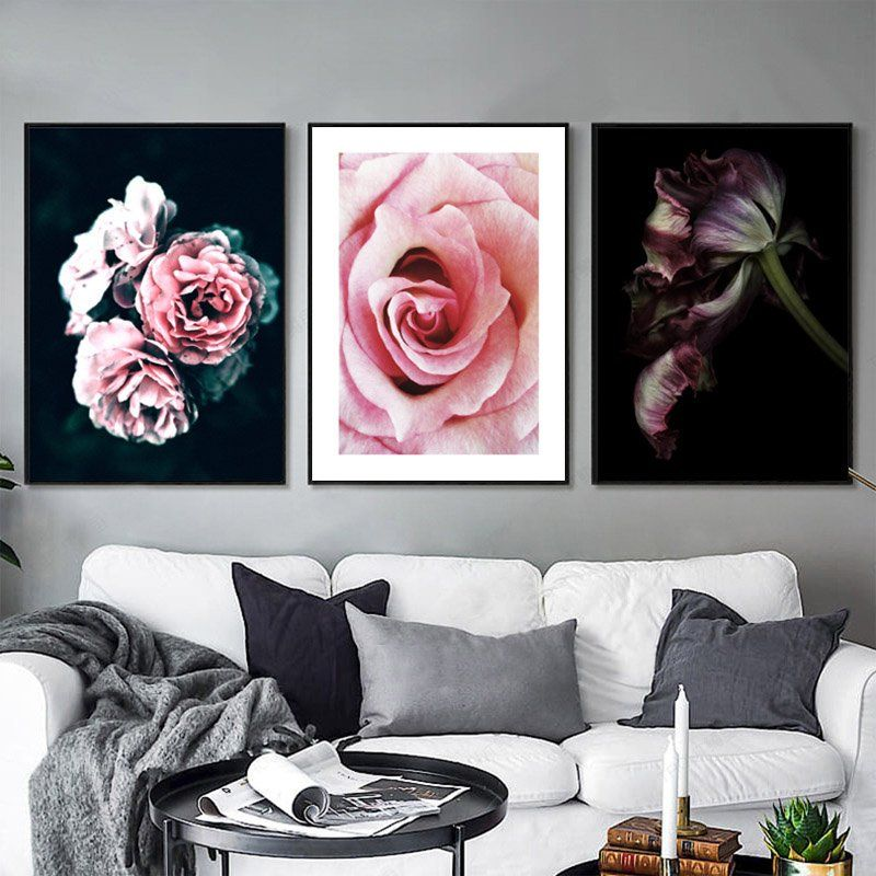 Black Rose Flower, Peony, Carnation, Decoration Wall Art
