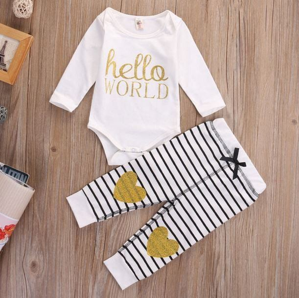 Hello World Baby Girl 2 Pc Set Glitter Set - Hello World Set - Shower Gift - Coming Home Outfit - Gold Glitter