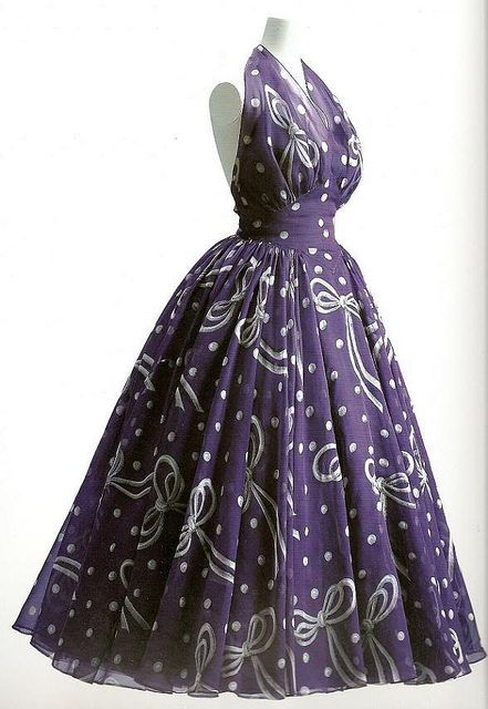 Balenciaga, 1949 vintage fashion style color photo print ad 50s 40s purple halter evening gown novelty print sheer tulle full skirt party dress designer couture