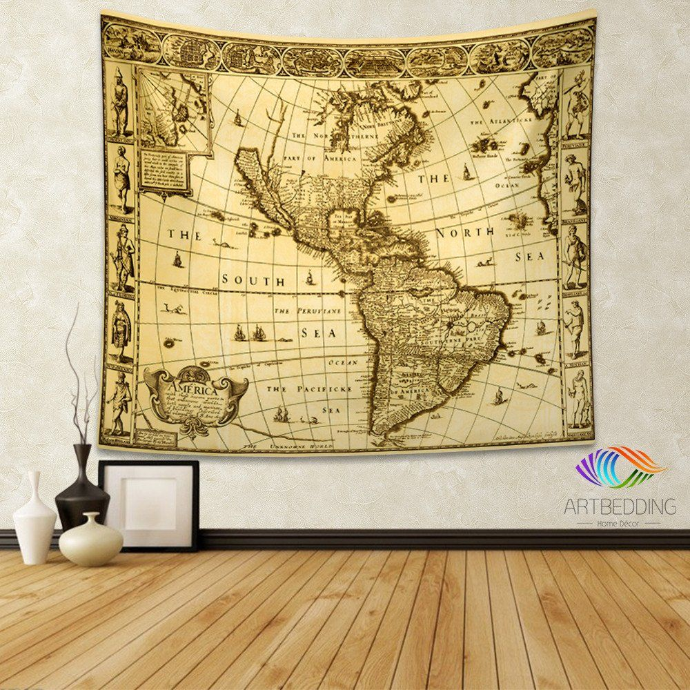 Vintage world map wall tapestry, America vintage world map wall ...