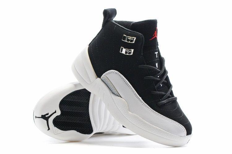 separation shoes ac32b ef664 Youth Basketball Shoes 2018 Legit Cheap Air Jordan XII 12 Kids Boys Retro  Playoffs Black White