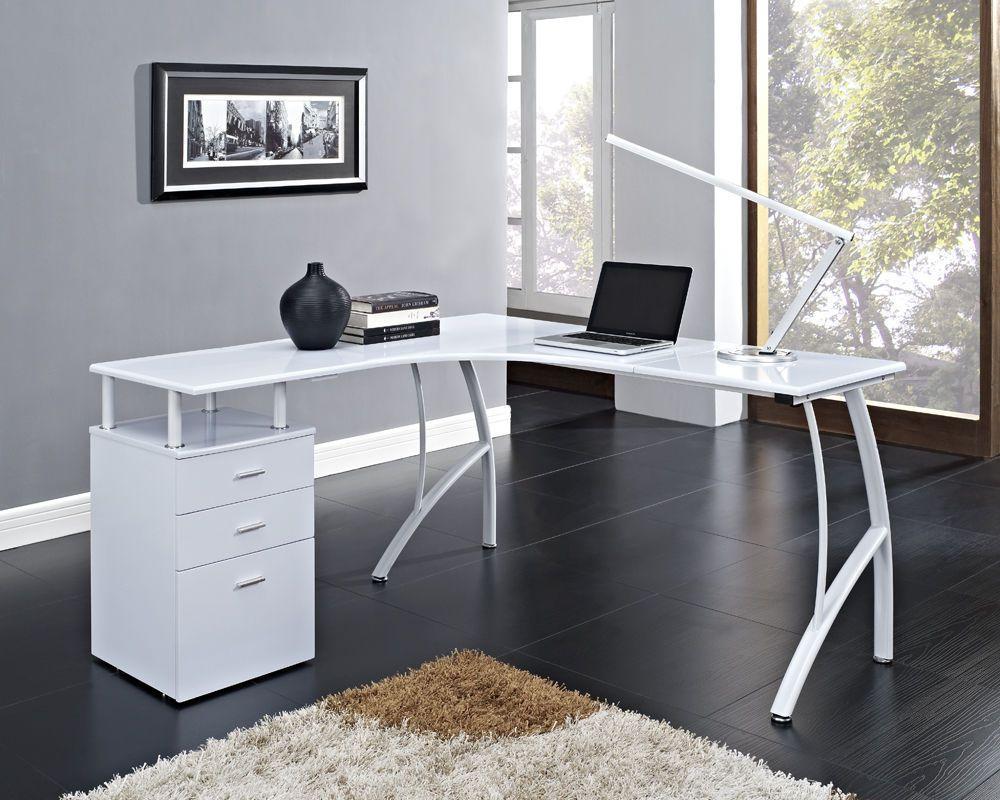 L Shaped Corner Computer Desk Office Home Pc Table In Black Or White 3 Drawers Ebay White Corner Computer Desk Home Office Design White Corner Desk