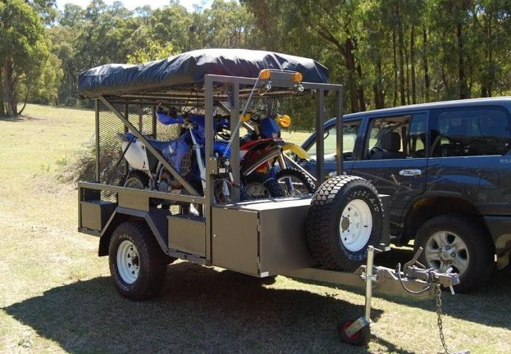 Motorbike Camper Trailer With Kitchen Tent And 3 Dirt Bikes