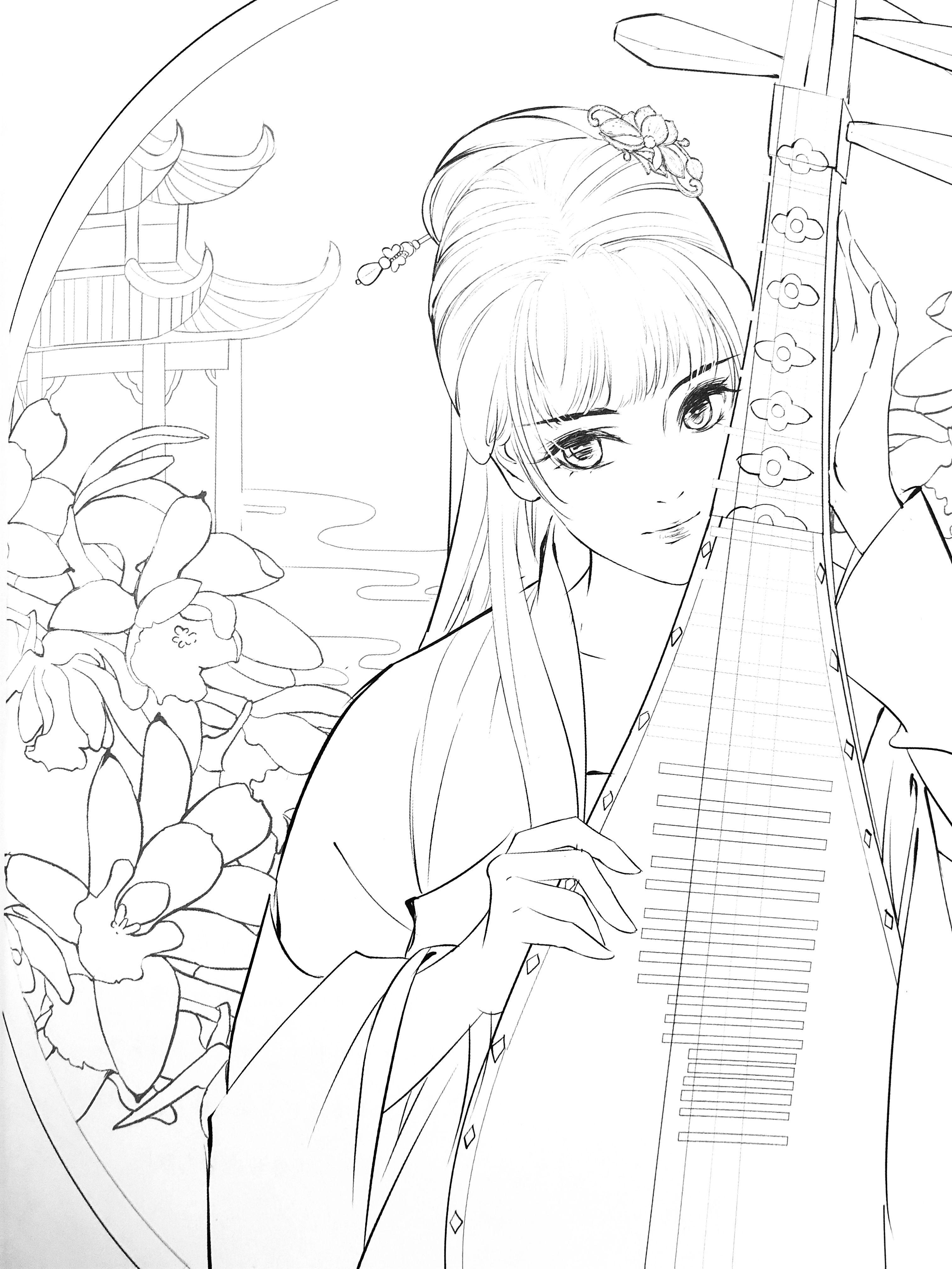 Qingpingyue Chinese Coloring Book Etsy Mỹ Thuật Y Tưởng Vẽ Anime [ 4032 x 3024 Pixel ]