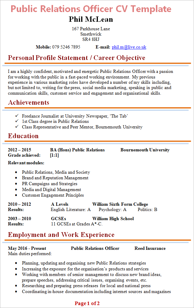 Cv Template 6th Form Student Public Relations Sample Resume Templates Cv Template