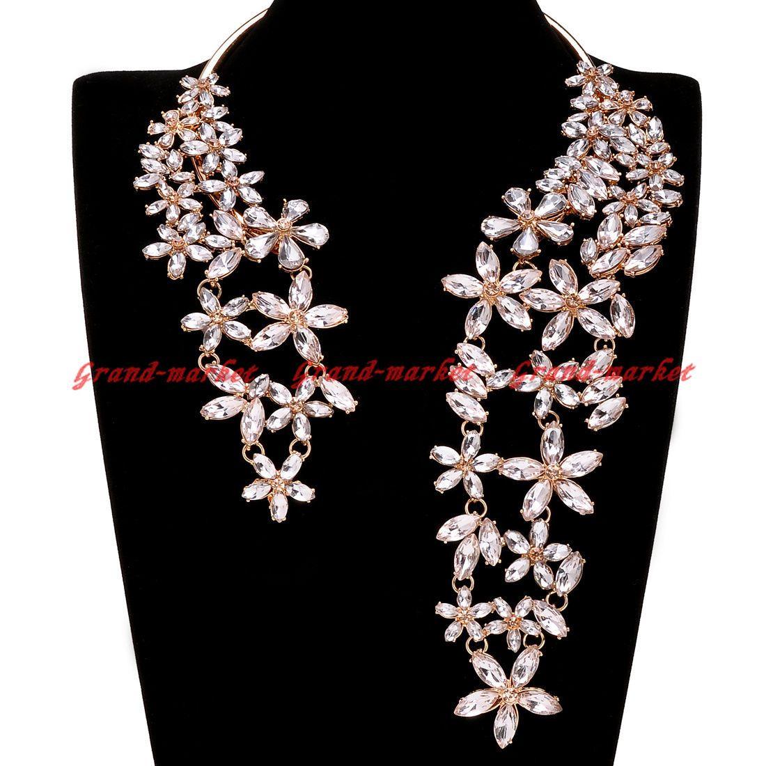 Fashion gold chain white crystal choker chunky statement pendant bib