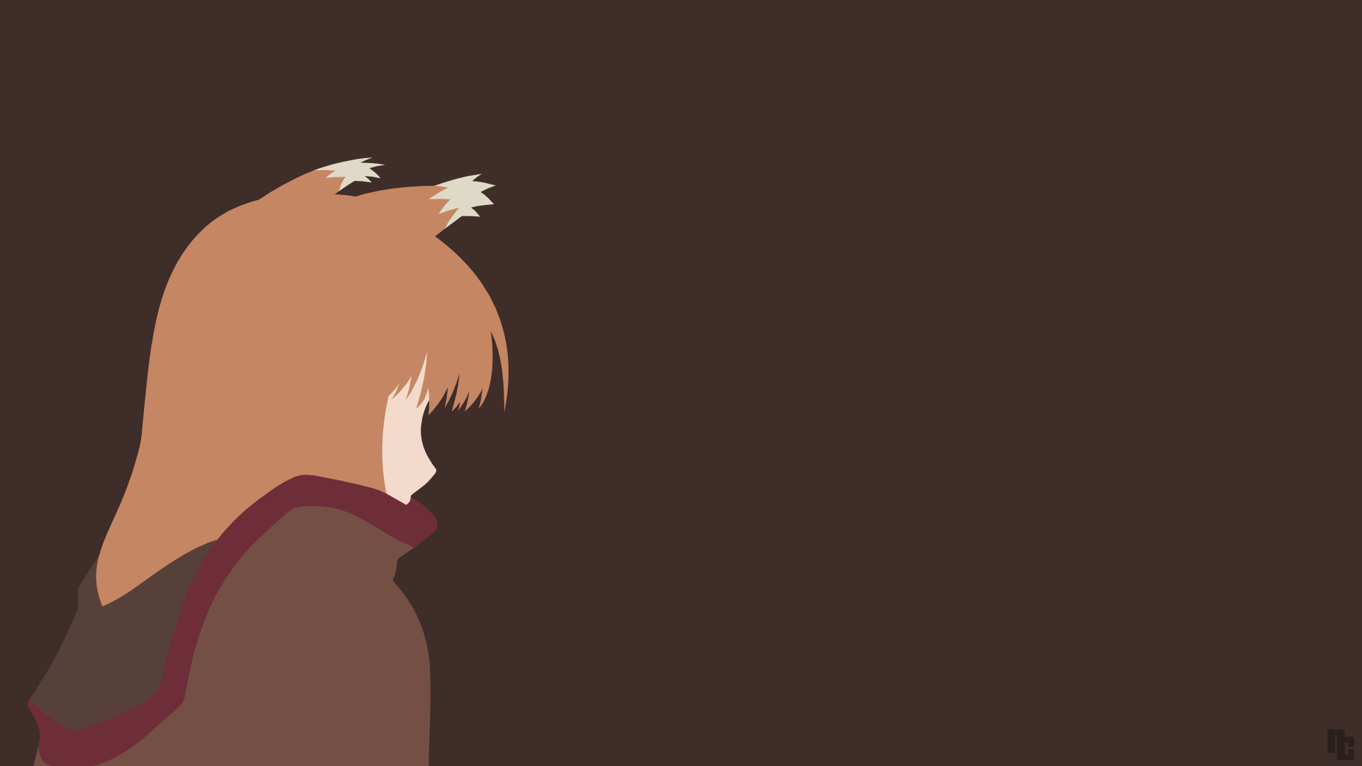 Holo Spice And Wolf Minimalist Wallpaper By Greenmapple