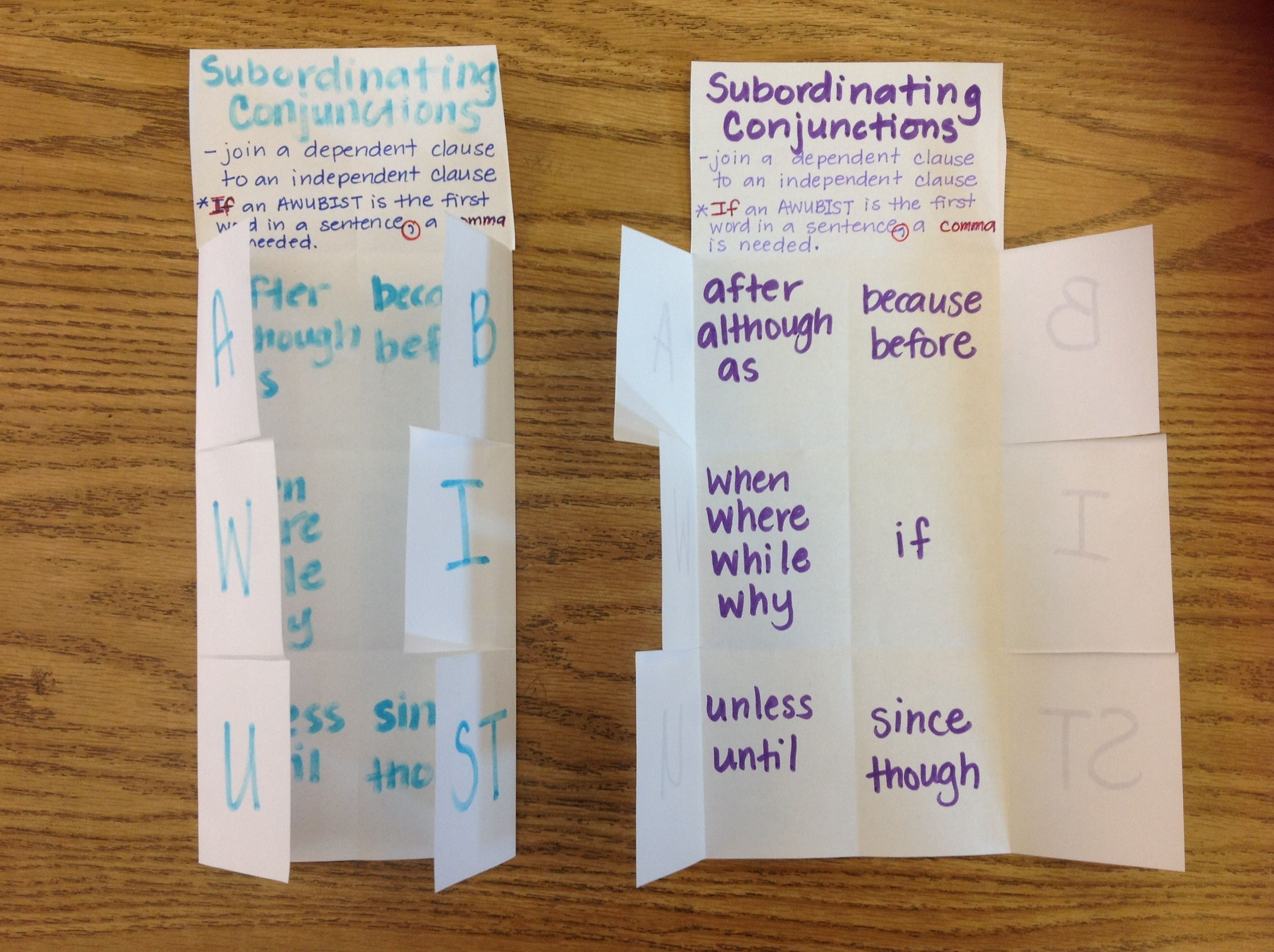 Subordinating Conjunctions Foldable
