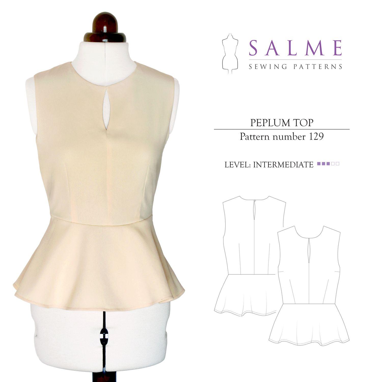 Salme Sewing Patterns 129 Peplum Top Downloadable Pattern