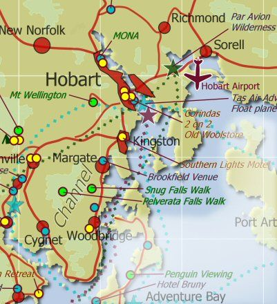 Hobart and DEntrecasteaux Chennel Map Tasmania Hobart area