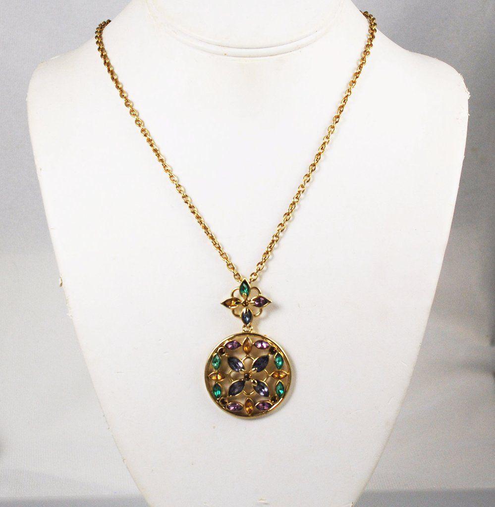 Carolina Herrera Gold Crystal Necklace | Crystal necklace ...