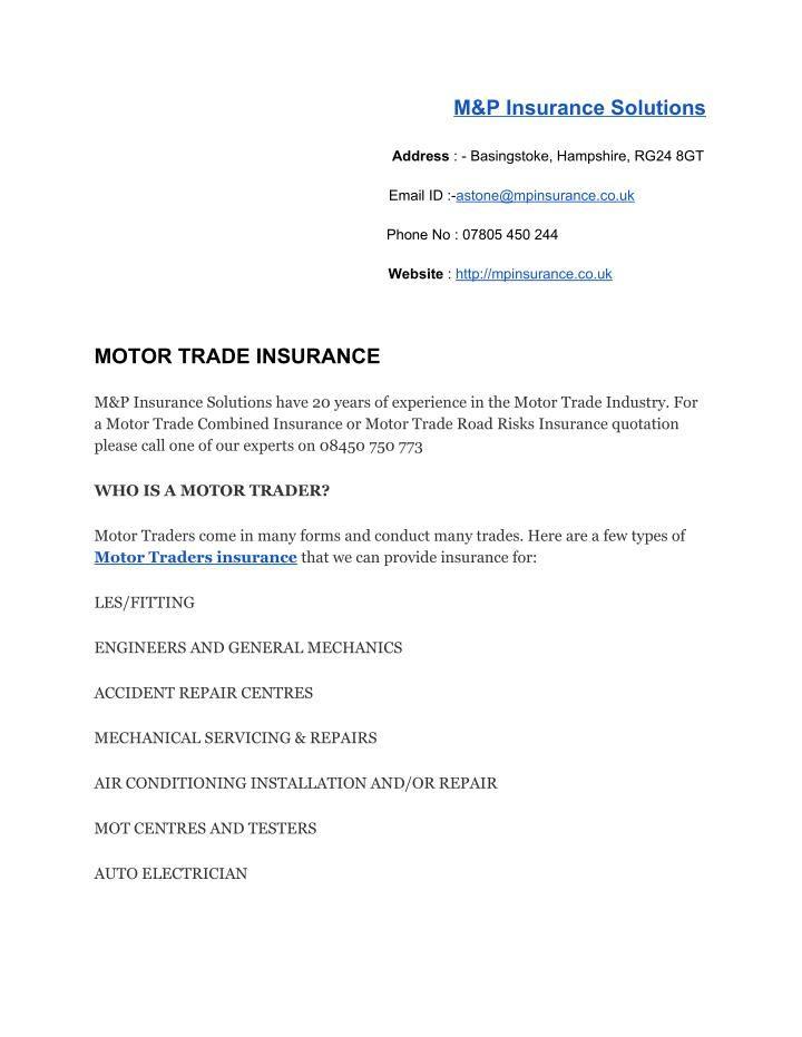 Motor Trade Insurance Insurance Car Insurance Solutions