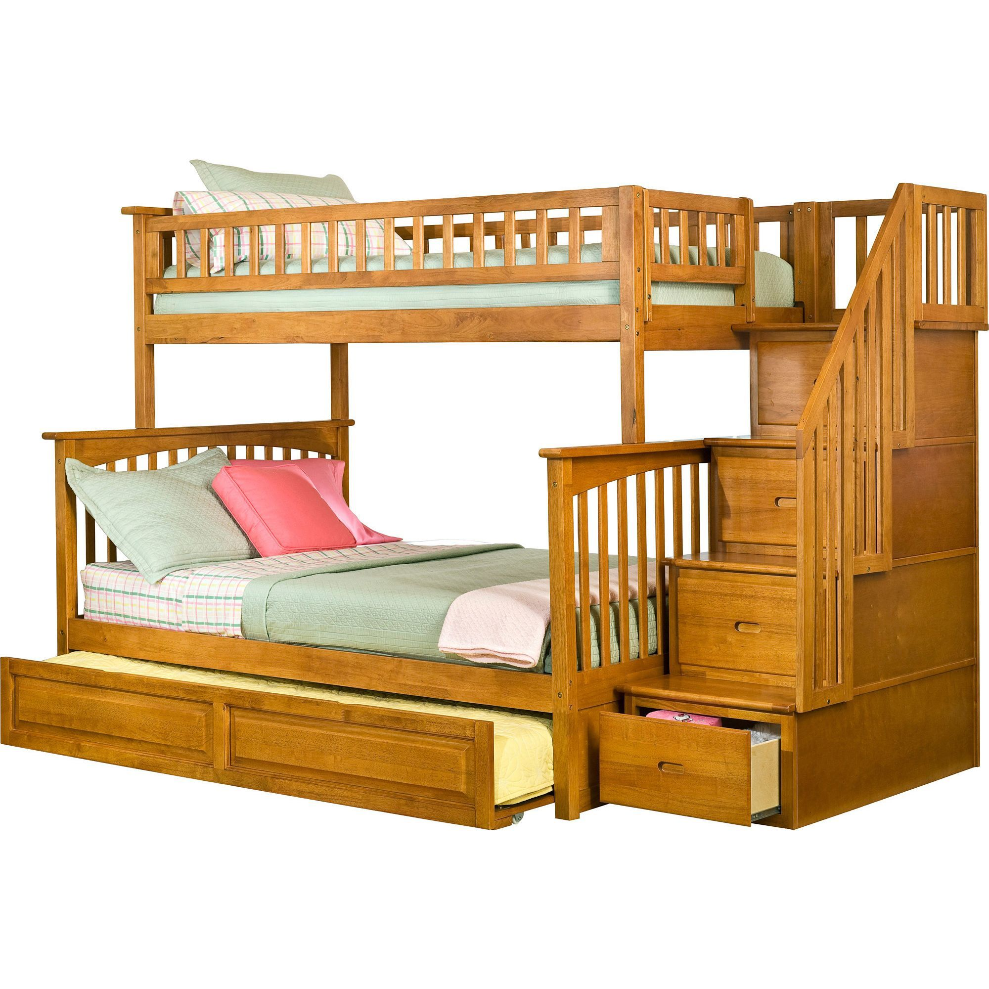 Twin over full loft bed with stairs  Atlantic Furniture Columbia Caramel Latte Twinoverfull Staircase