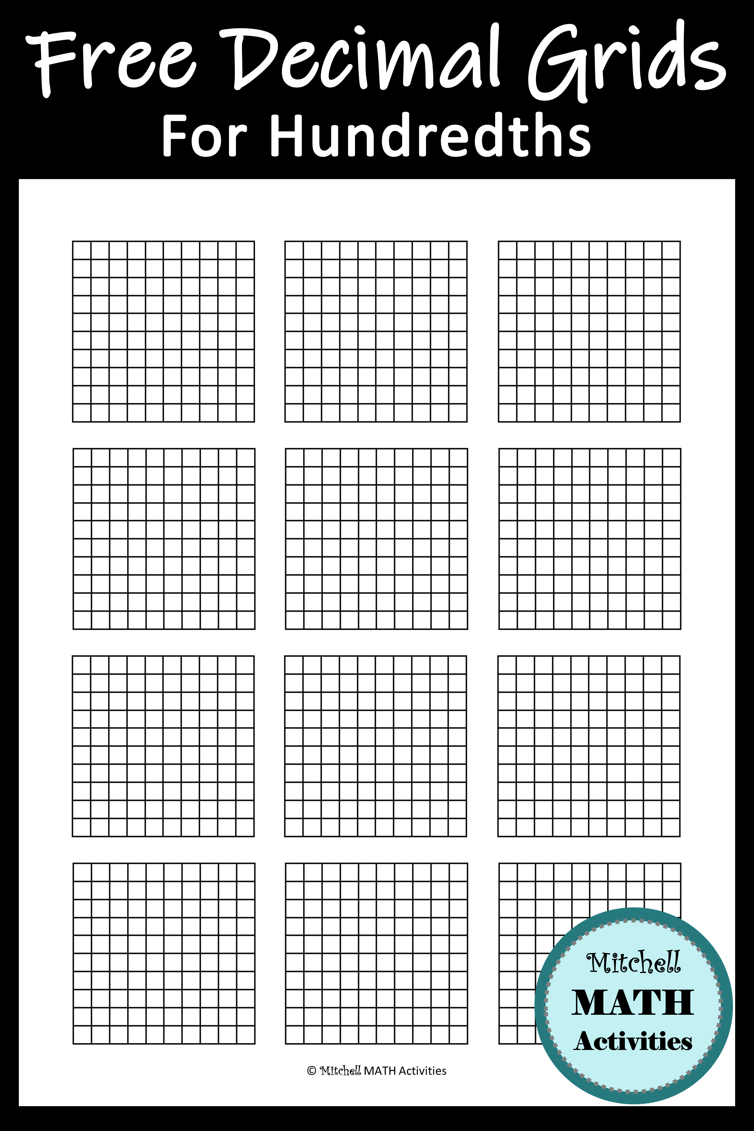 FREE printable decimal grid models for tenths and hundredths. Plus a free  hands-on activity and tips for teaching dec…   Decimals [ 3600 x 2400 Pixel ]