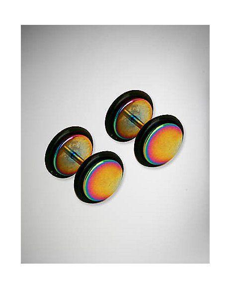 Rainbow Large Face Fake Plug Set - Spencer's