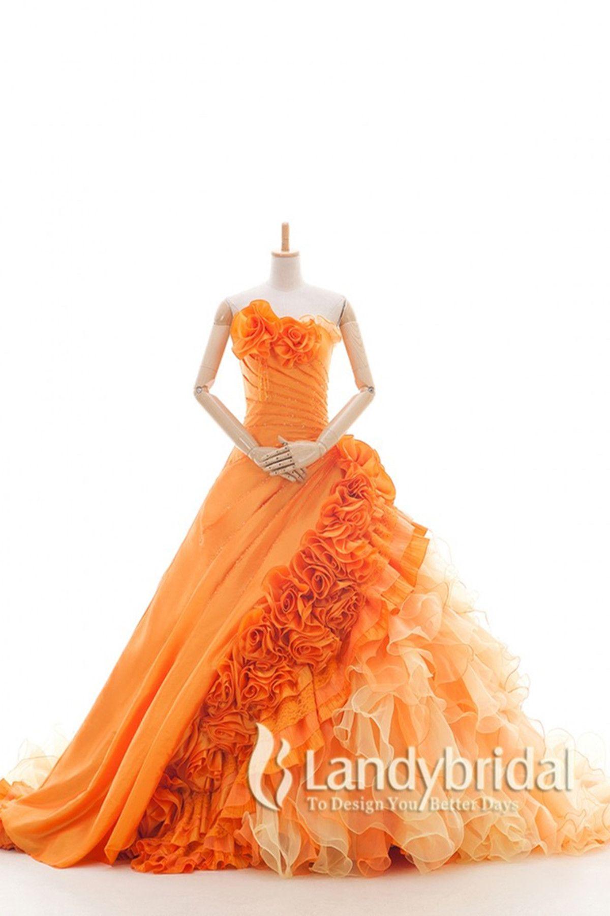 300e2780266b5 カラードレス プリンセス オレンジ 光沢なタフタ グラデーション お色直し 色変更可能 花嫁ドレス js0085-or ¥48