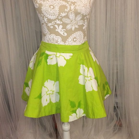Floral Skater Skirt Green and White Floral Skater Hollister Skirts Circle & Skater