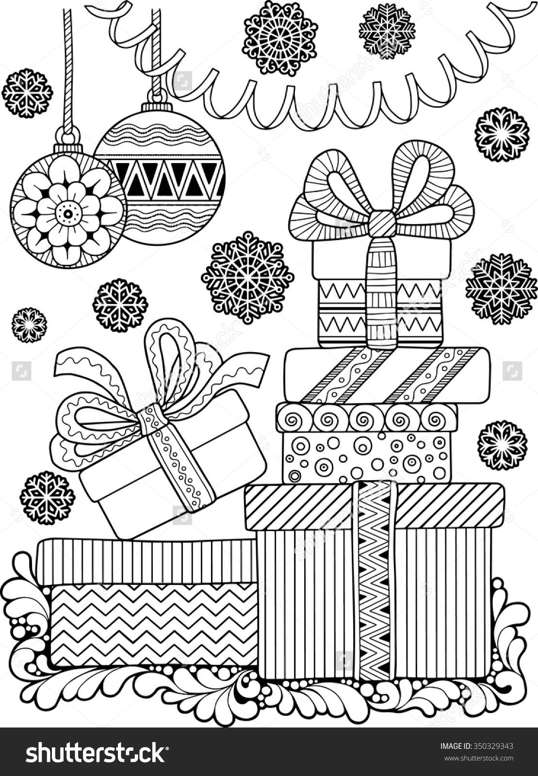 Christmas Coloring Page Shutterstock