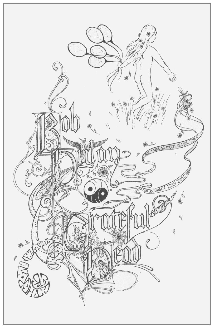 Grateful Dead Coloring Pages : grateful, coloring, pages, Grateful, Coloring, Pages, Hippie, Pinterest, Dead,, Books,, Bears