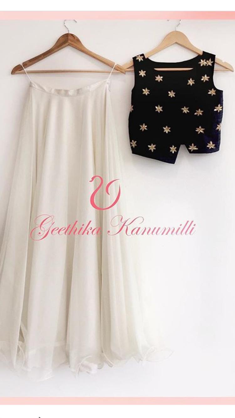Black Crop White Fab Mono Long Top SkirtFashion With Lehenga 5AqRcLjS34