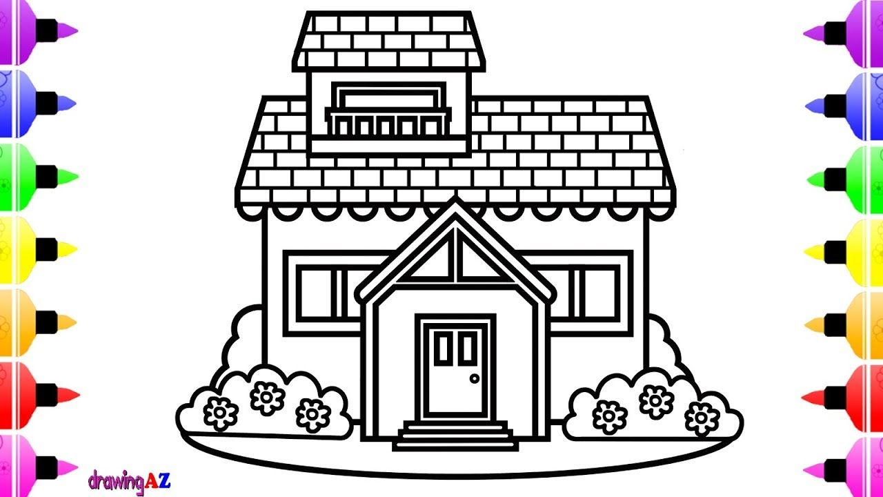 How To Draw Cute House For Kids Cute Art Coloring Pages For