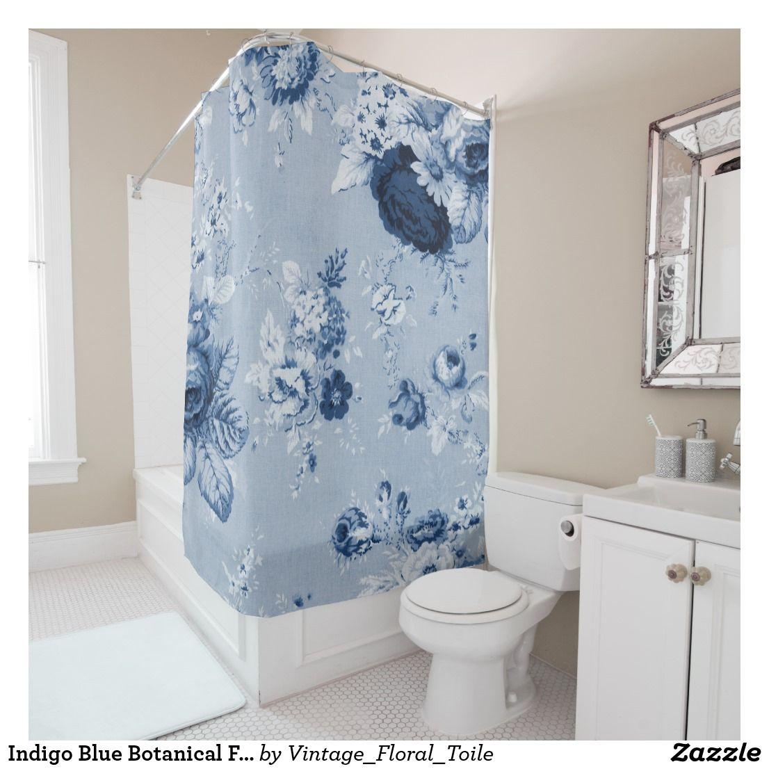 Indigo Blue Botanical Floral Toile No 4 Shower Curtain Zazzle
