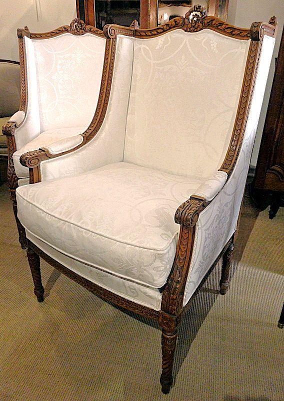 bergere pr chtiges paar frankreich louis xvi 1790 barock sessel ohrensessel m bel. Black Bedroom Furniture Sets. Home Design Ideas