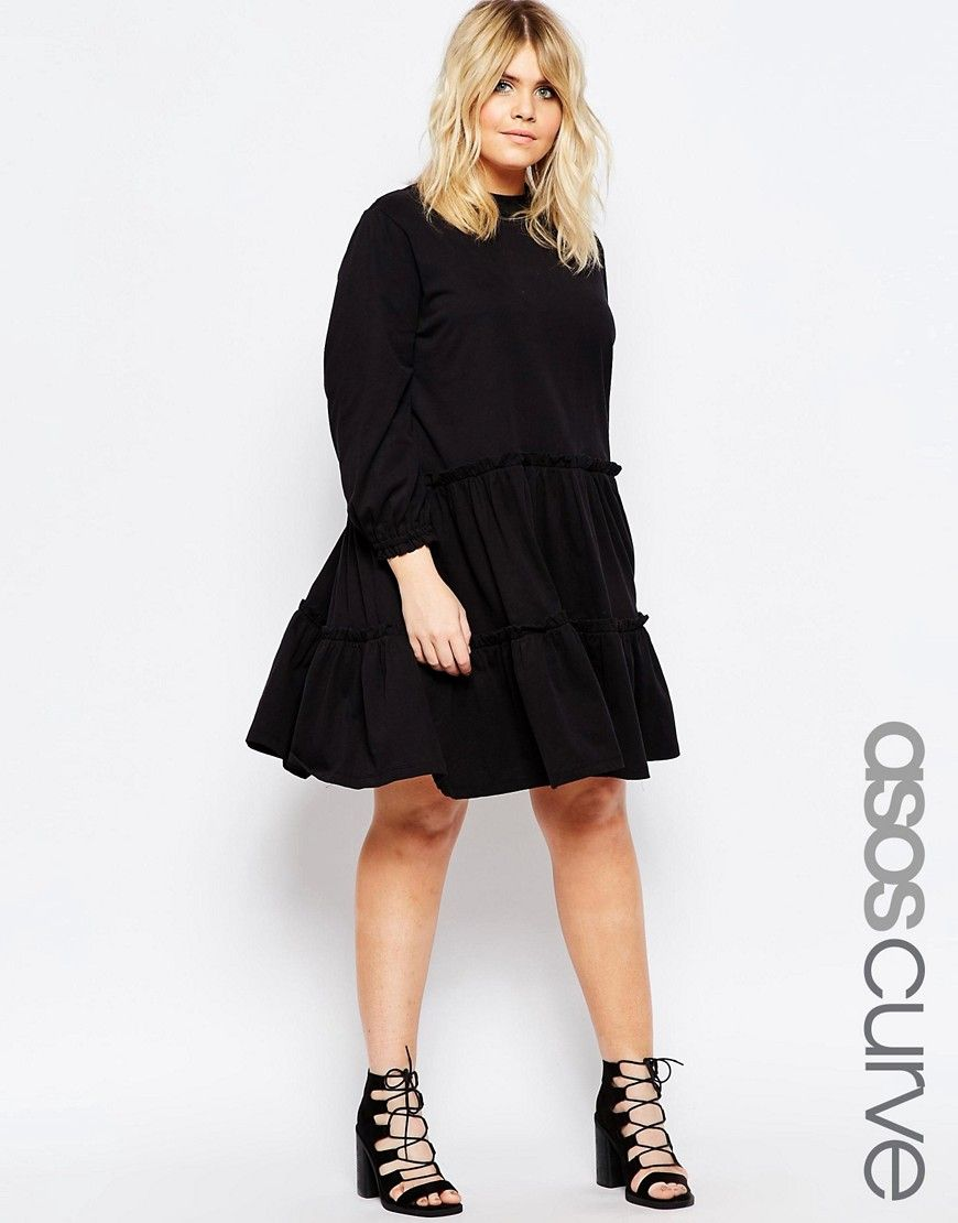 af8718938b163 Image 1 of ASOS CURVE Long Sleeve Tiered Smock Dress Plus Size Womens  Clothing