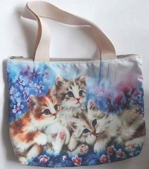 Cat kitten flower garden pet shoulder bag handbag shopping tote handmade zipper #designcer #ShoulderBag