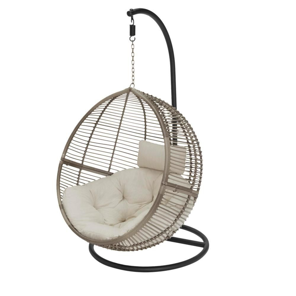 Egg Shaped 1 Person Wicker Patio Swing With Biscuit Cushions In