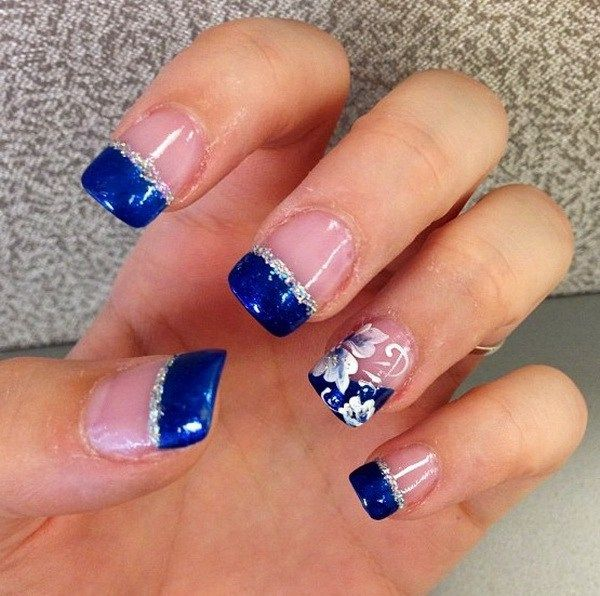 Blue And Silver Tipped French Nail Design Accented With A Bit Of Flowers More From Forcreativejuice