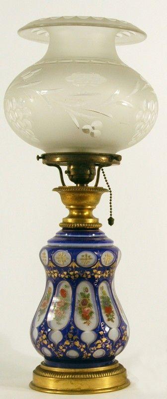 Art Nouveau oil lamp, blue glass tank