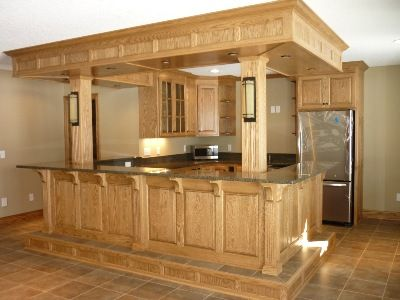 Oak bar bar ideas pinterest the o 39 jays building for Building kitchen cabinets udo schmidt