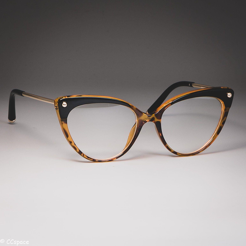 Photo of 45651 Cat Eye Glasses Frames Plastic titanium Women Trending Rivet Styles Optical Fashion Computer Glasses