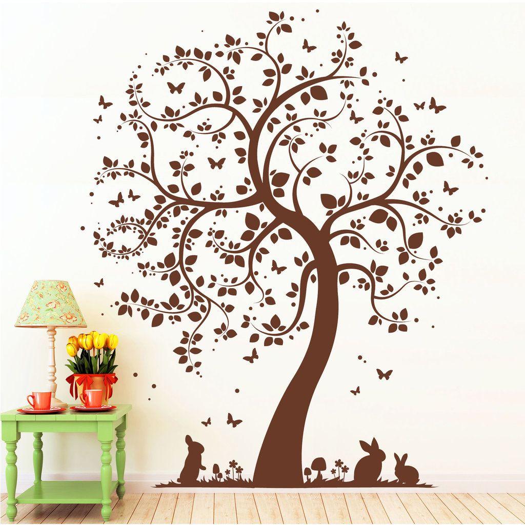 Baum Häschen Pilze Schmetterlinge | Wandbilder, Hase und Baum
