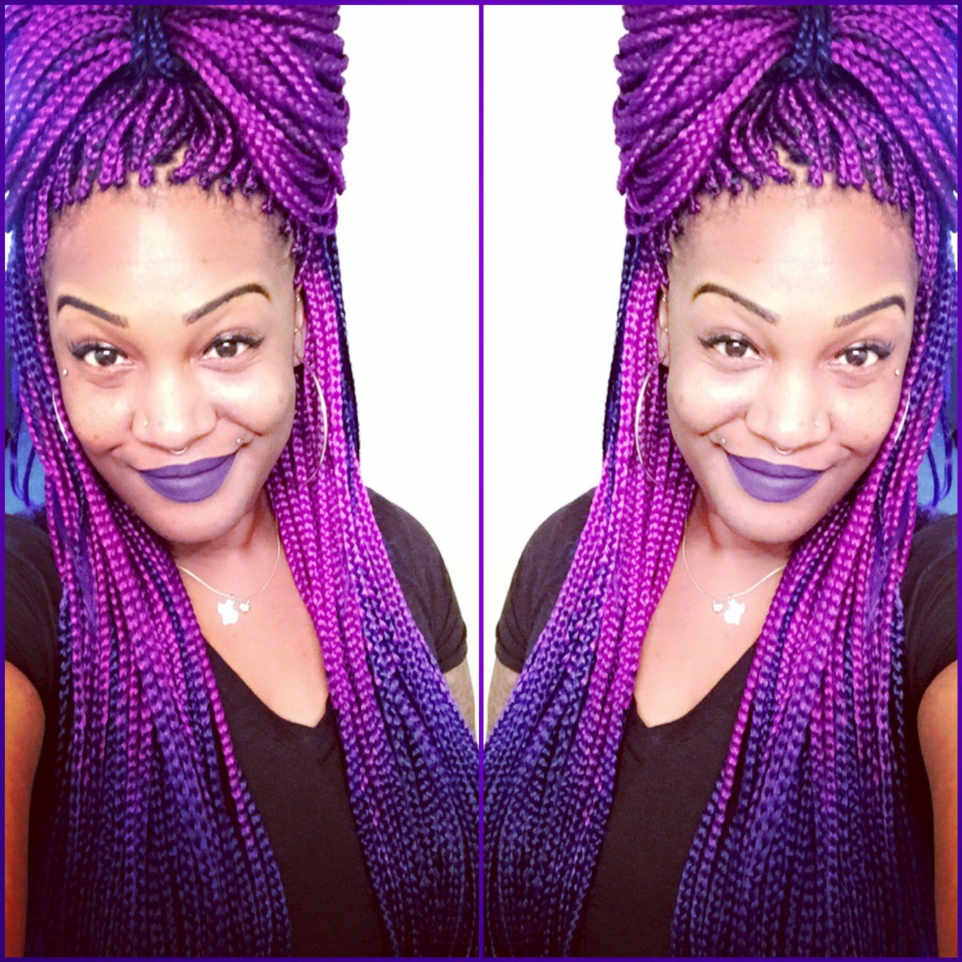 box braids purple to blue boxbraids purple blue