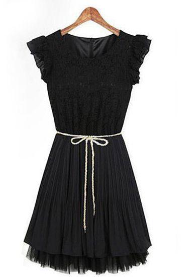 Black Sleeveless Pleated Party Dress