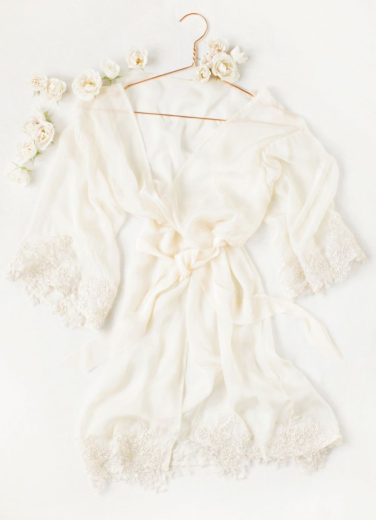 Vanilla coloured silk chiffon bridal dressing gown with gold french ...