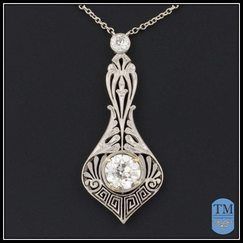 Stunning Antique Edwardian Platinum and 1.39ctw Diamond Necklace