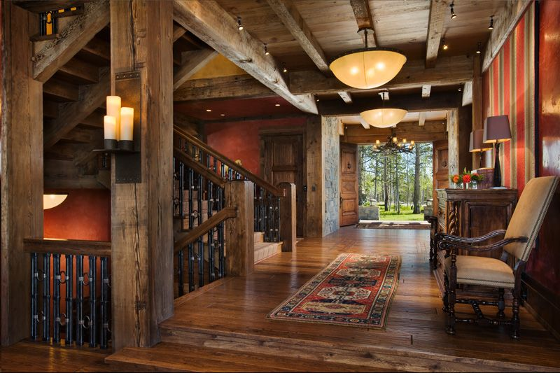 Wow!  Great foyer in this log home by Locati Architects, Montana