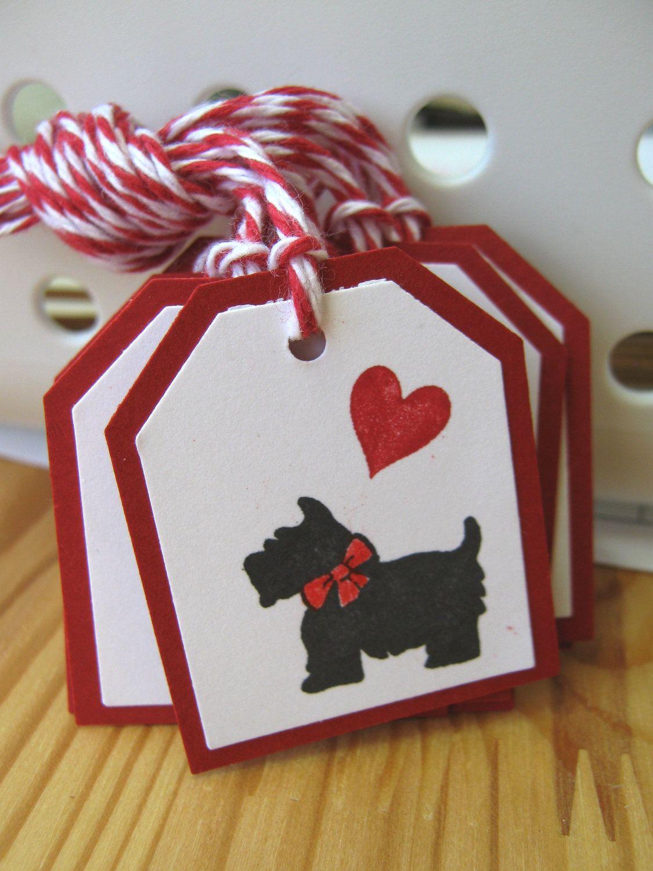 Black Scottie Dog Valentine Gift Tags.