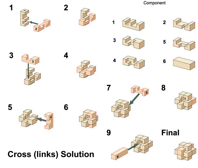 Cross Solutions Wooden Puzzles Solution 3d Brain Teasers Jigsaw
