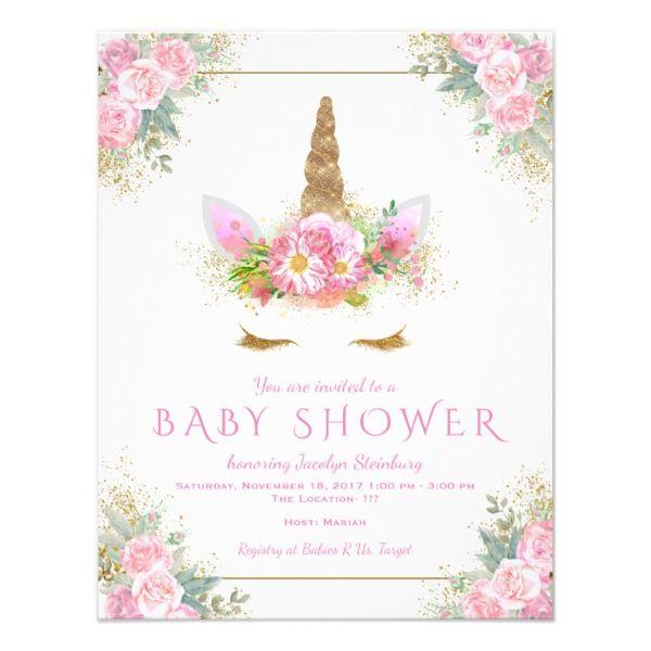Unicorn Face Unicorn Baby Shower Invitations Zazzle Com