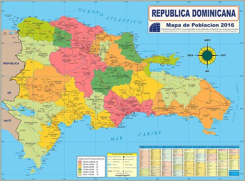 Mapa De Población De República Dominicana República Dominicana Dominicano Mapas
