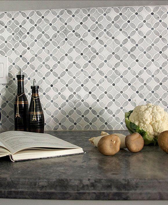 White Gray Marble Flower Mosaic Tile Backsplash Com Marble