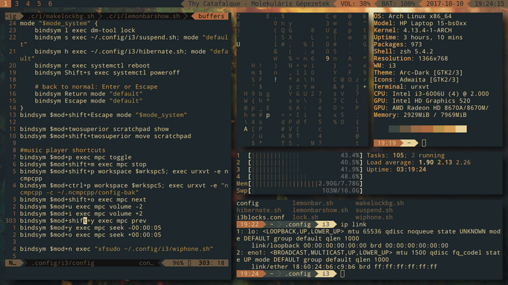 i3-gaps + lemonbar + powerline] Arch Linux rice in 2019