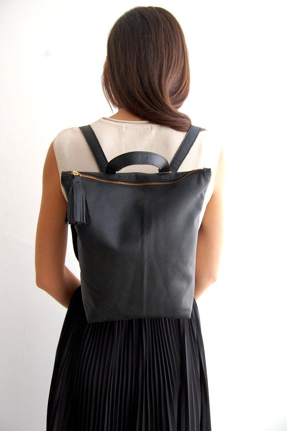 Black leather backpack school backpack by Albertinaboutique Small Black  Leather Backpack 3f475372a13dc