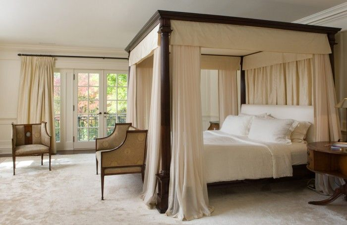 King Size Canopy Wood Bed Curtains Google Search