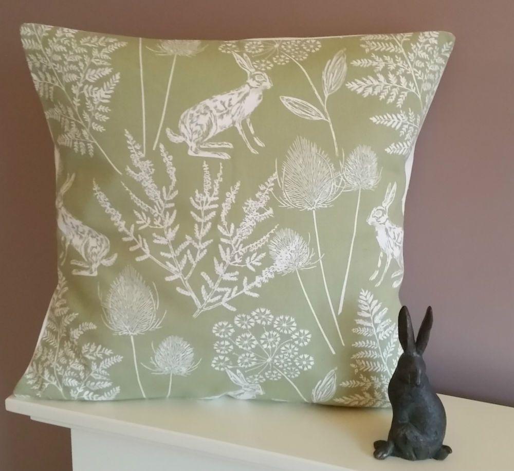 New hare rabbit cushion cover green
